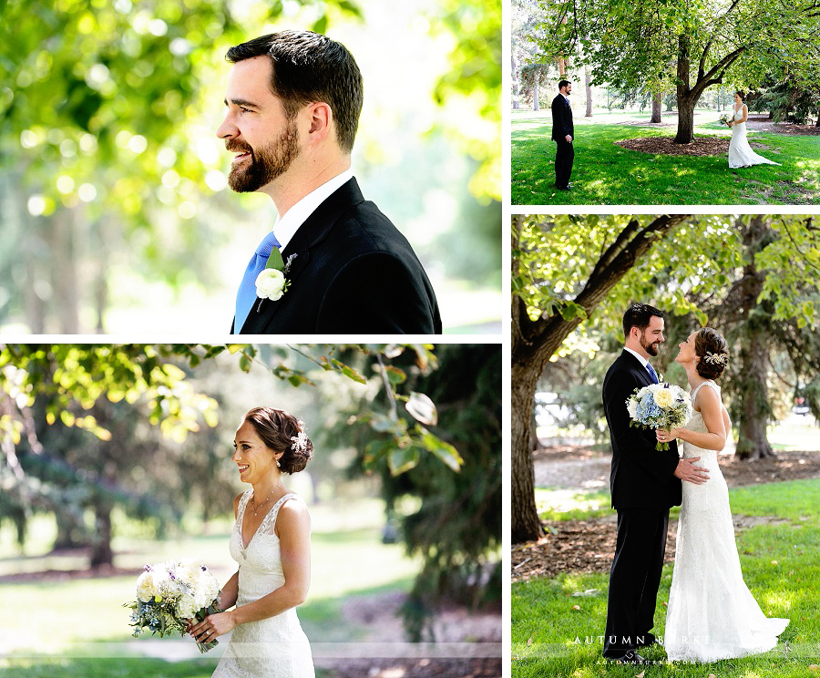 city park denver colorado wedding bride and groom first look