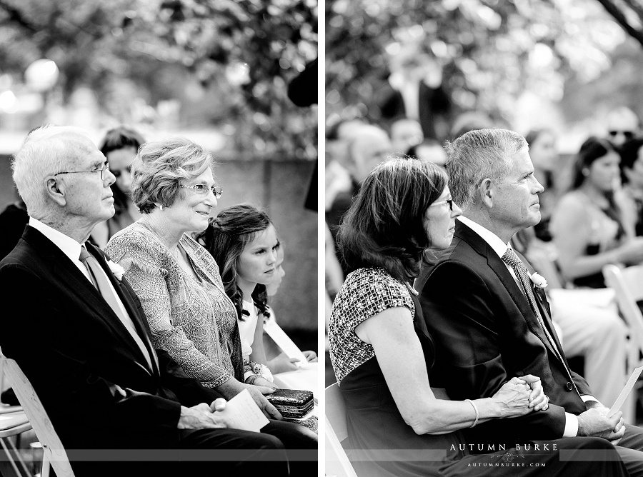 denver art museum wedding ceremony colorado parents of the bride parents of the groom watching vows