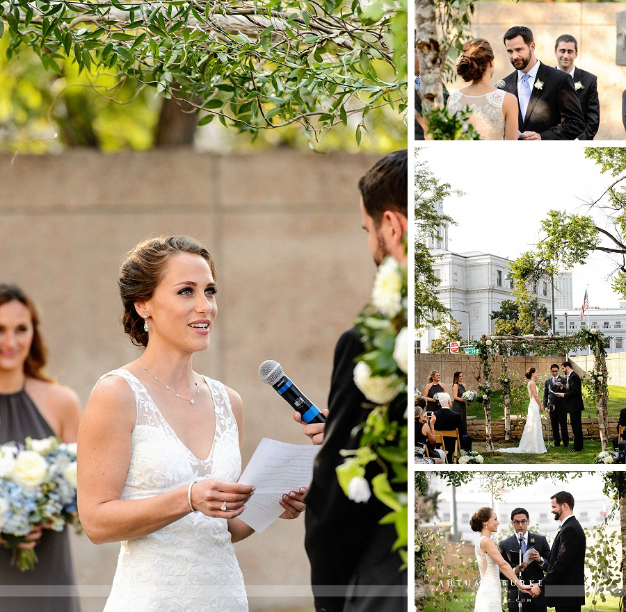 bride and groom outdoor colorado wedding ceremony downtown denver art museum chuppah
