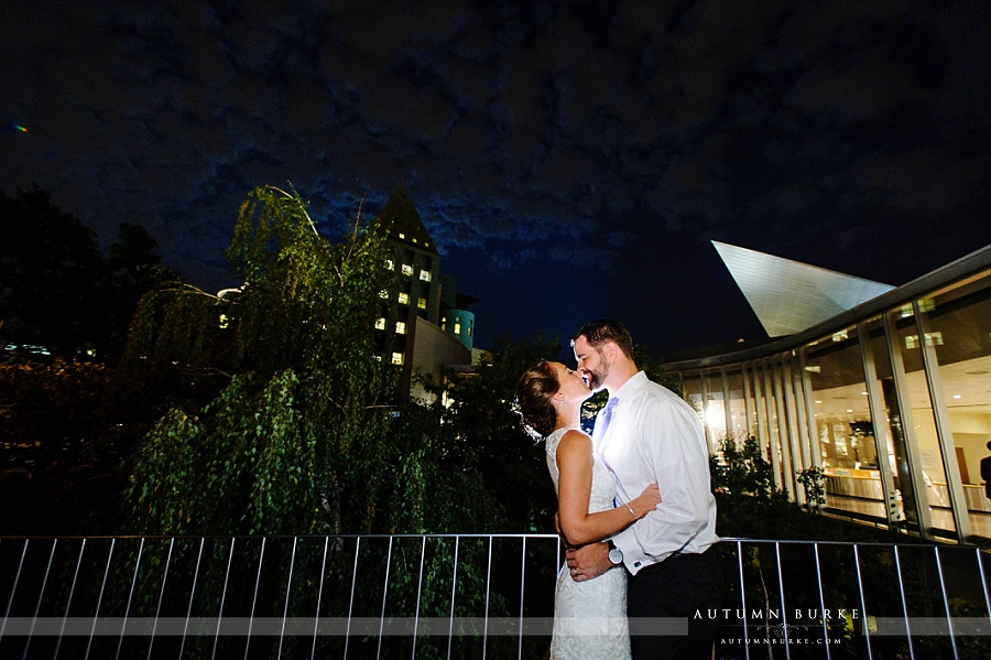 denver art museum wedding downtown denver colorado bride and groom at night