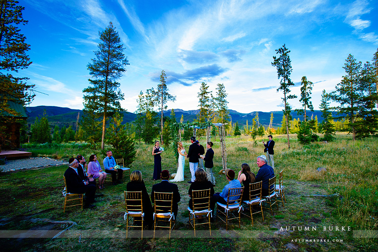first look wild horse inn colorado mountain wedding ceremony chuppah tabernash winter park wildflowers