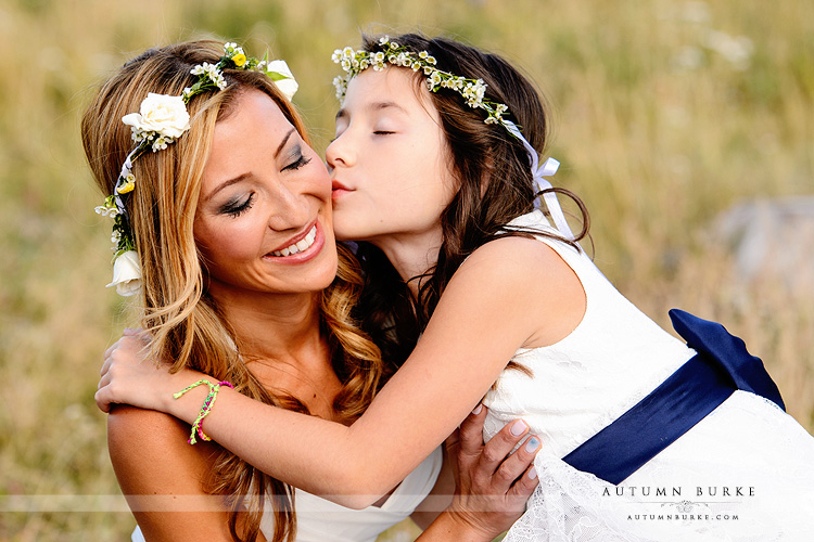 wild horse inn winter park wedding bride and flower girl daughter