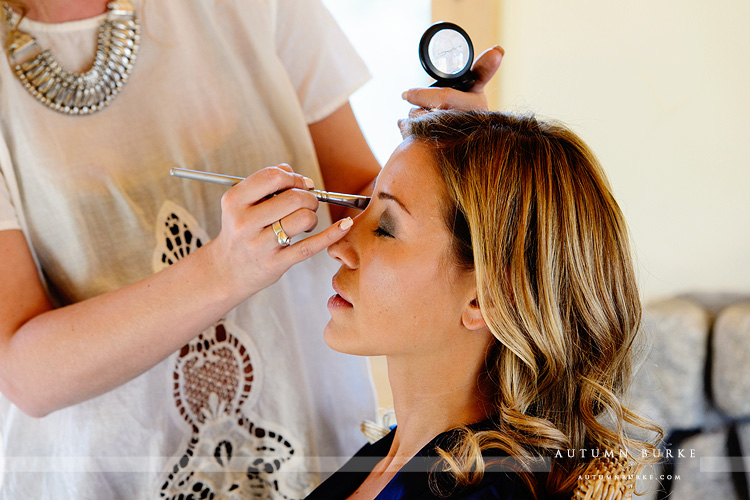 wild horse inn winter park wedding bride getting ready makeup hair