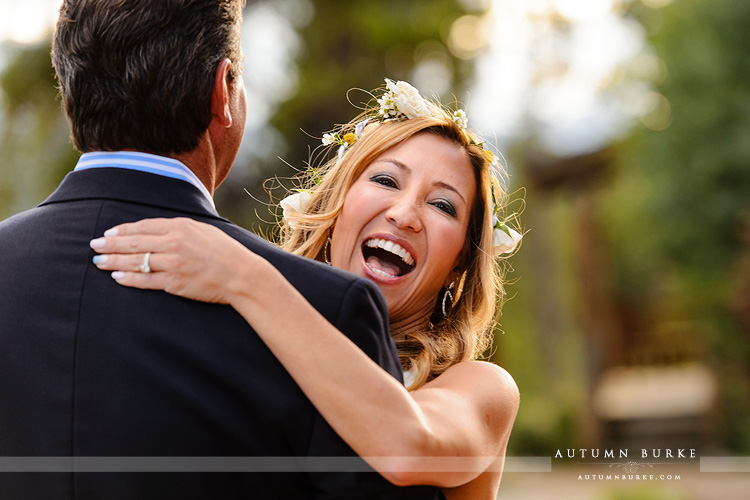 wild horse inn winter park wedding bride laughing joy dance colorado mountain