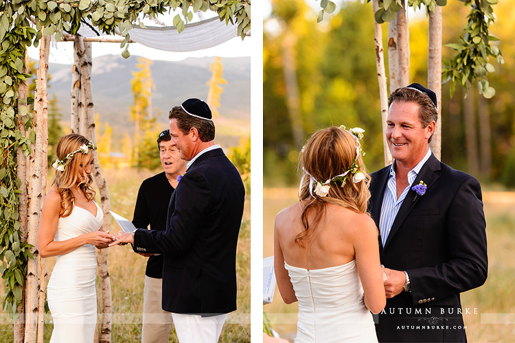 wild horse inn winter park wedding ceremony colorado mountain bride and groom exchange rings