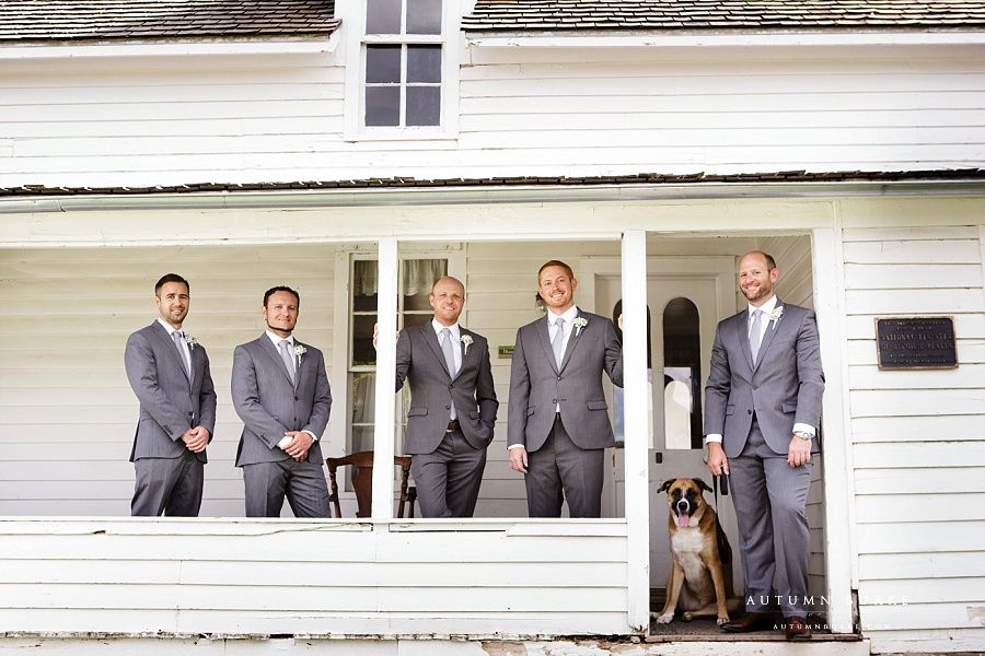 groom and groomsmen portrait chatfield botanic gardens colorado wedding
