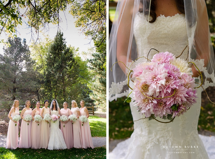 colorado wedding bride with bridesmaids blush pink bouquet botanic gardens chatfield