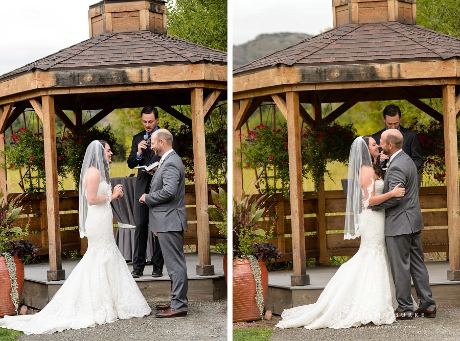 chatfield wedding ceremony bride and groom kiss i do colorado wedding