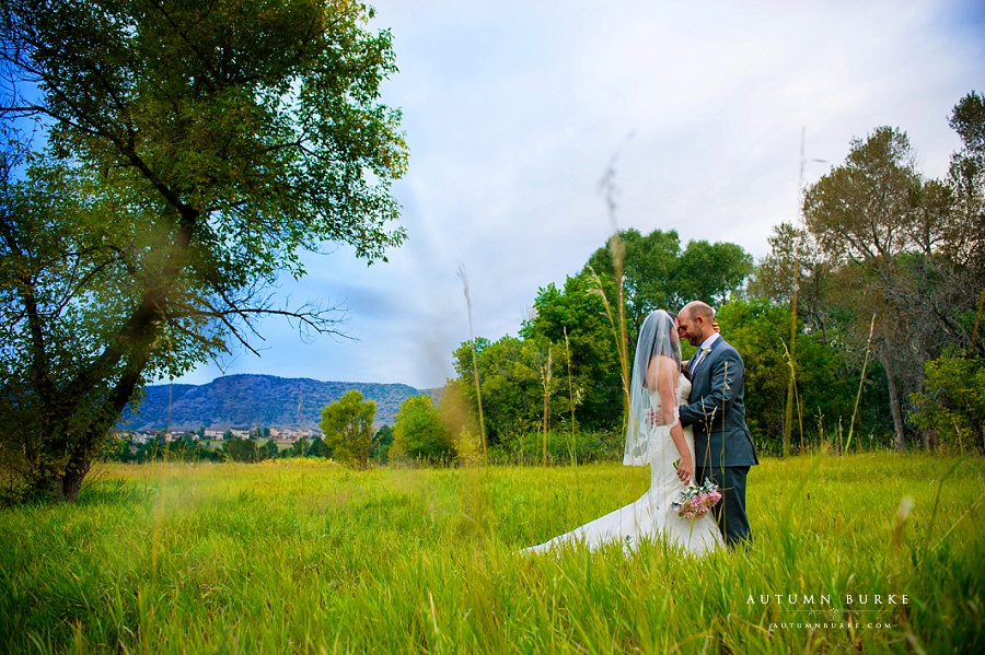 bride and groom in field chatfield botanic gardens wedding long grasses colorado rustic elegance