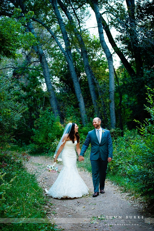 denver botanic gardens chatfield wedding colorado rustic elegance bride and groom portrait woods