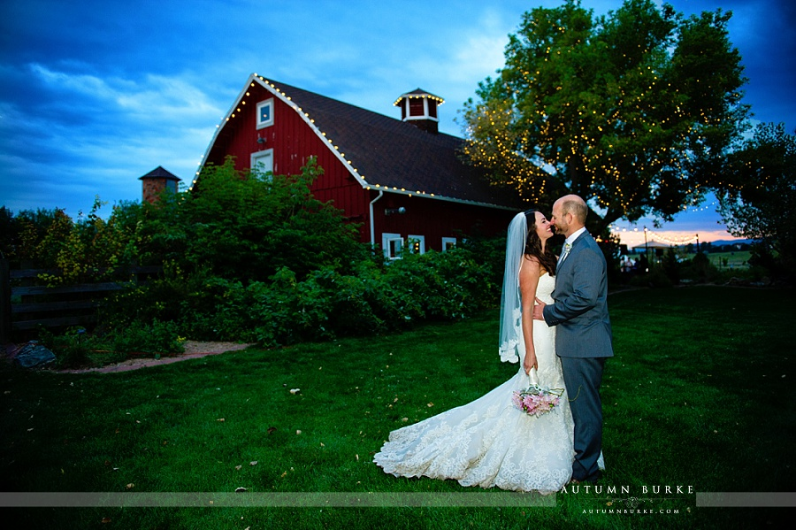 denver botanic gardens chatfield wedding red barn bride and groom portrait market lights elegant rustic