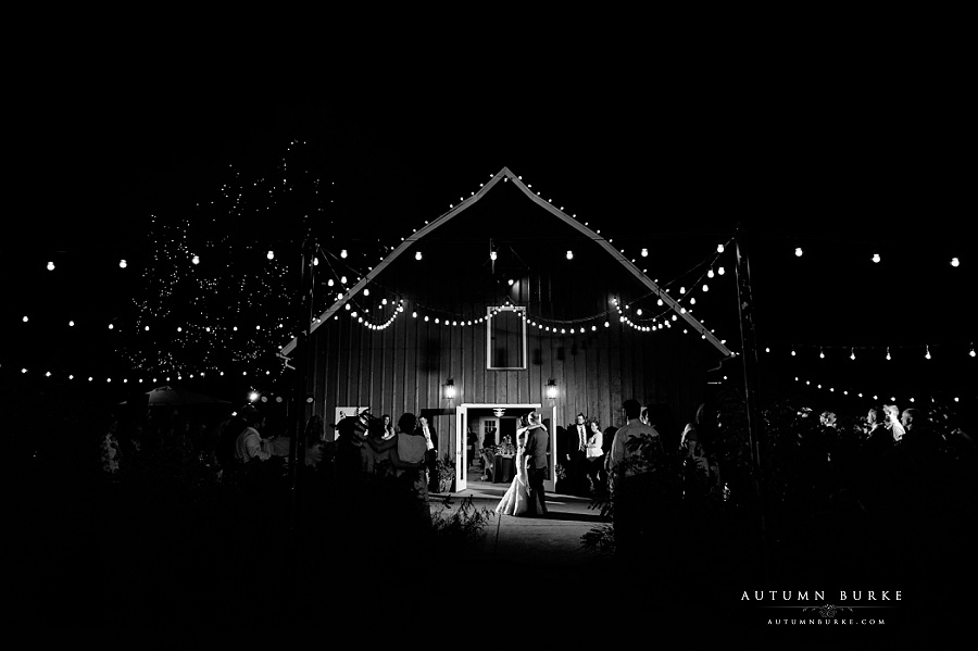 chatfield botanic gardens wedding first dance barn market lights dramatic lighting night