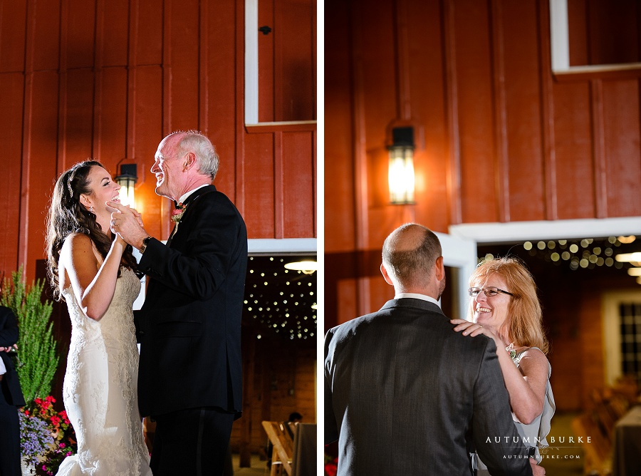 chatfield botanic gardens wedding parent dances first dance mother son father daughter barn
