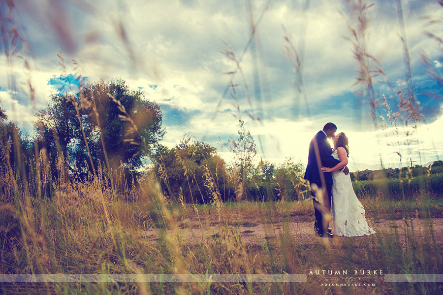 denver colorado wedding couple outdoors bride and groom field