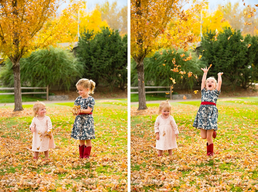 colorado childrens portraits fall leaves october playful kids