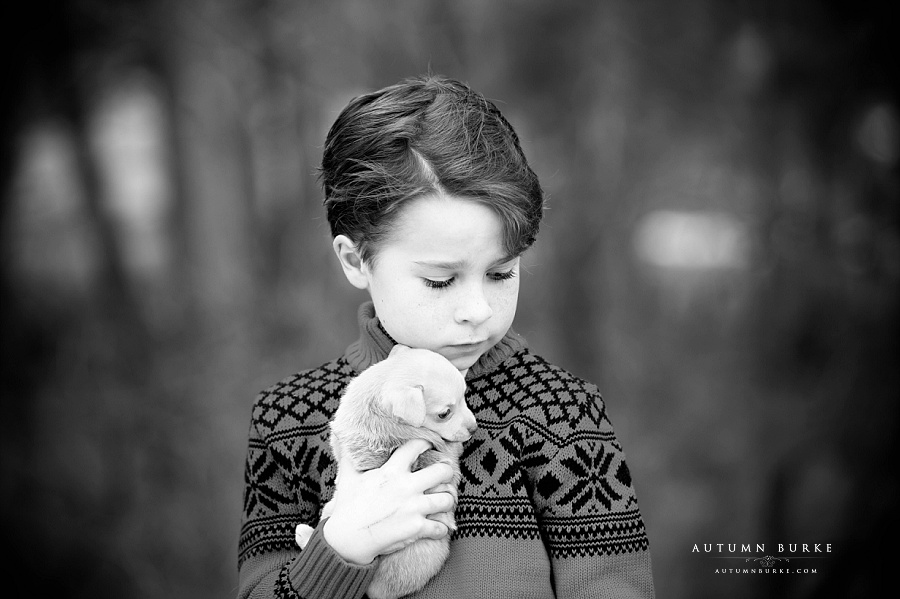 colorado childrens portrait black and white boy with puppy denver kids photographer lifestyle