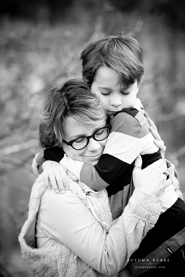 colorado family photography mother son portrait black and white emotional hug love
