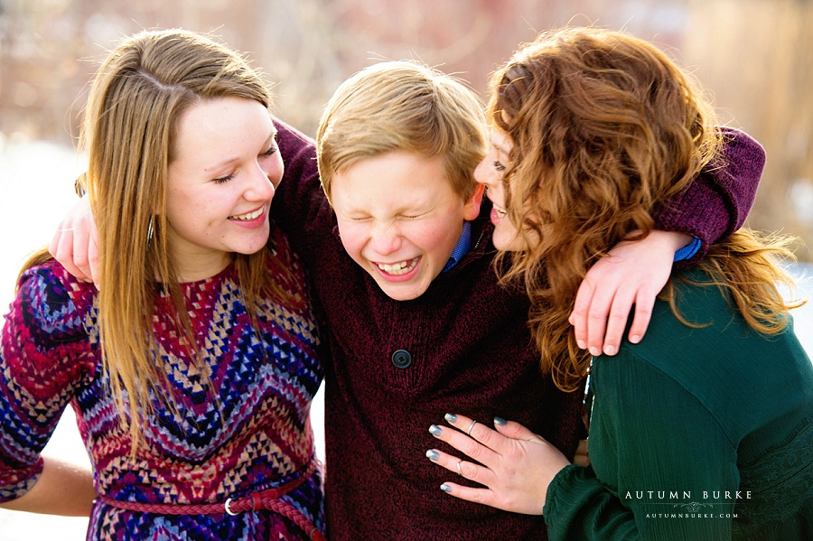 colorado family portrait session winter holiday siblings brother and sisters