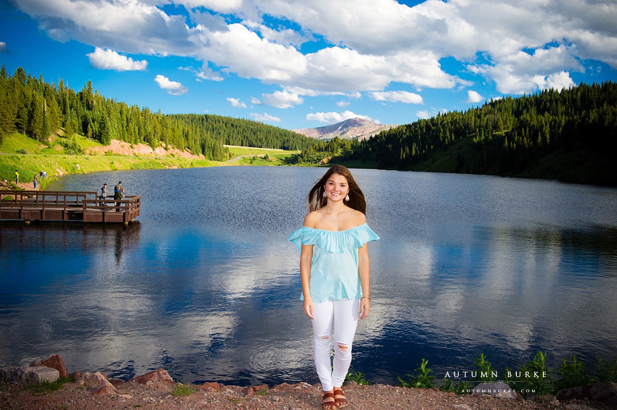 colorado high school senior portrait mountains lake vail