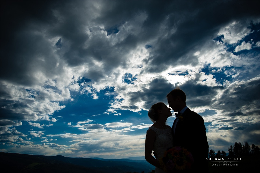 colorado wedding bride and groom silhouette vail wedding deck