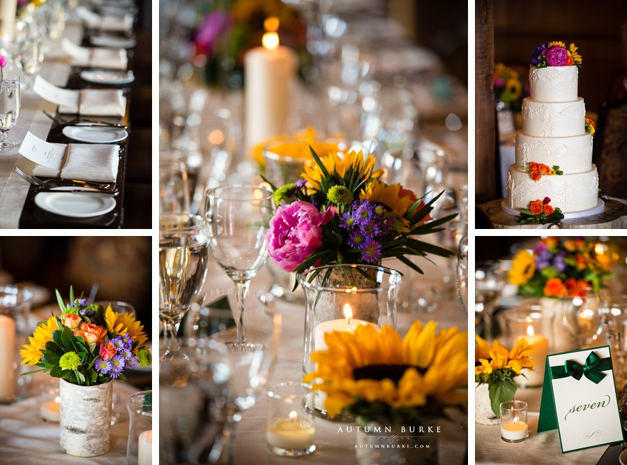 vail colorado mountain wedding details game creek restaurant cake flowers decor candles rustic sunflowers