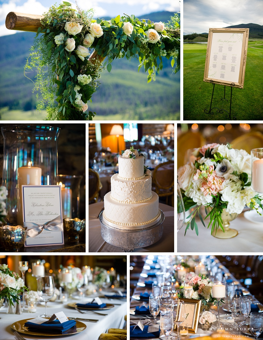 colorado mountain wedding details ceremony arch, stationery, flowers, centerpieces, decor, seating chart, table settings, cake