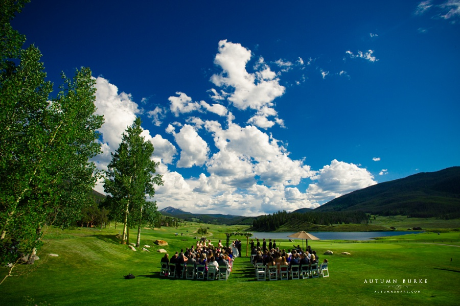 keystone ranch wedding ceremony colorado bluebird skies