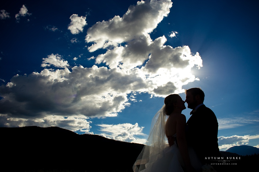 bride and groom silhouette colorado wedding