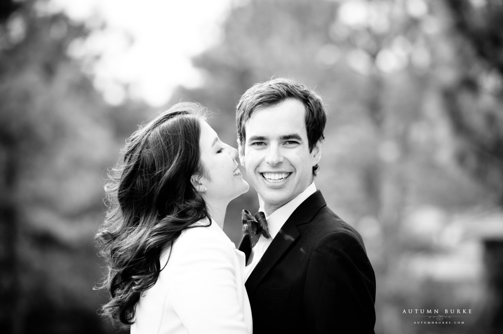 denver colorado wedding engagement portrait session bride and groom black and white