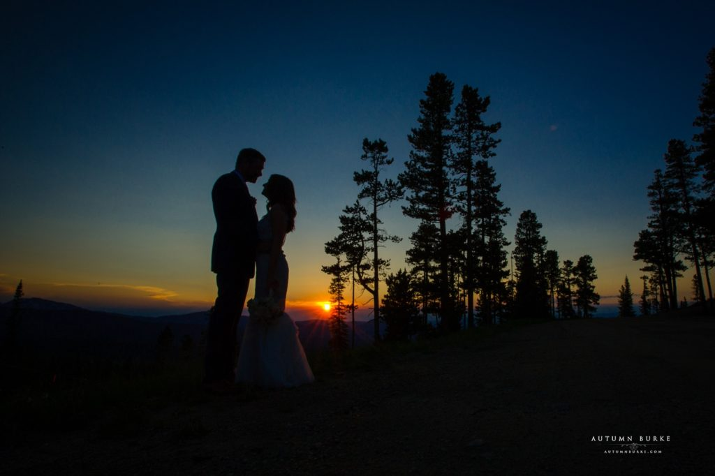 winter park wedding lodge at sunspot sunset silhouette bride and groom