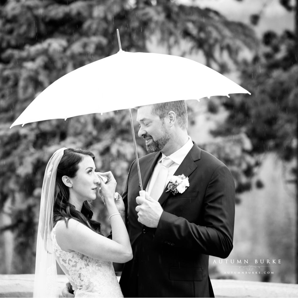 black and white colorado wedding winter park first look bride and groom
