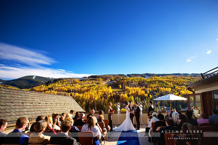 Four Seasons Vail Colorado Mountain Wedding Ceremony Autumn
